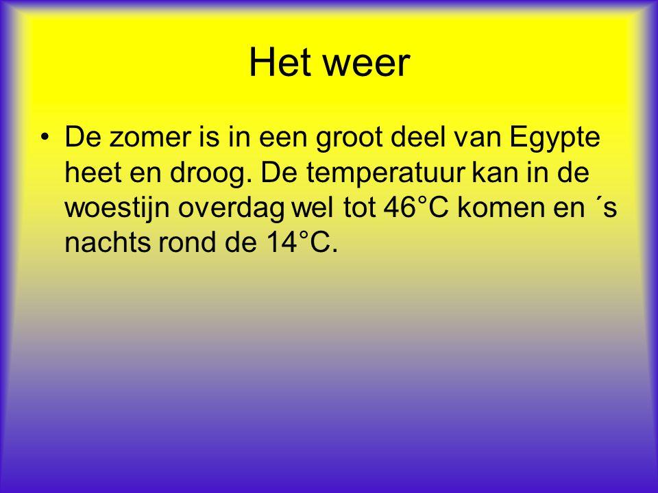 Het weer De zomer is in een groot deel van Egypte heet en droog. De temperatuur kan in de woestijn overdag wel tot 46°C komen en ´s nachts rond de 14°