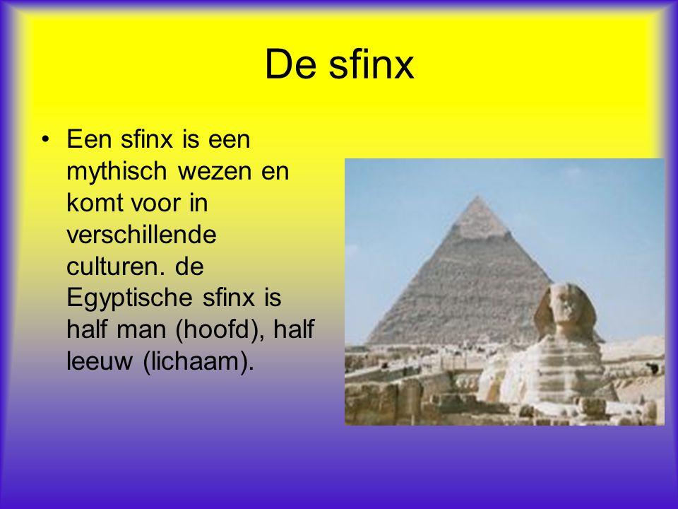 De sfinx Een sfinx is een mythisch wezen en komt voor in verschillende culturen. de Egyptische sfinx is half man (hoofd), half leeuw (lichaam).