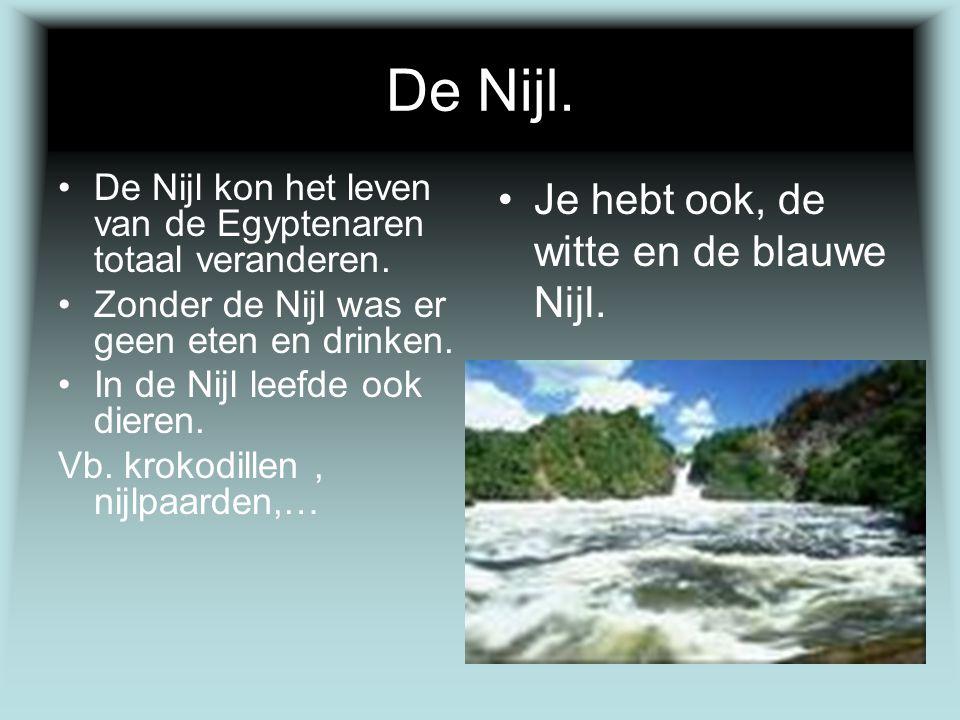 De Nijl. De Nijl kon het leven van de Egyptenaren totaal veranderen. Zonder de Nijl was er geen eten en drinken. In de Nijl leefde ook dieren. Vb. kro
