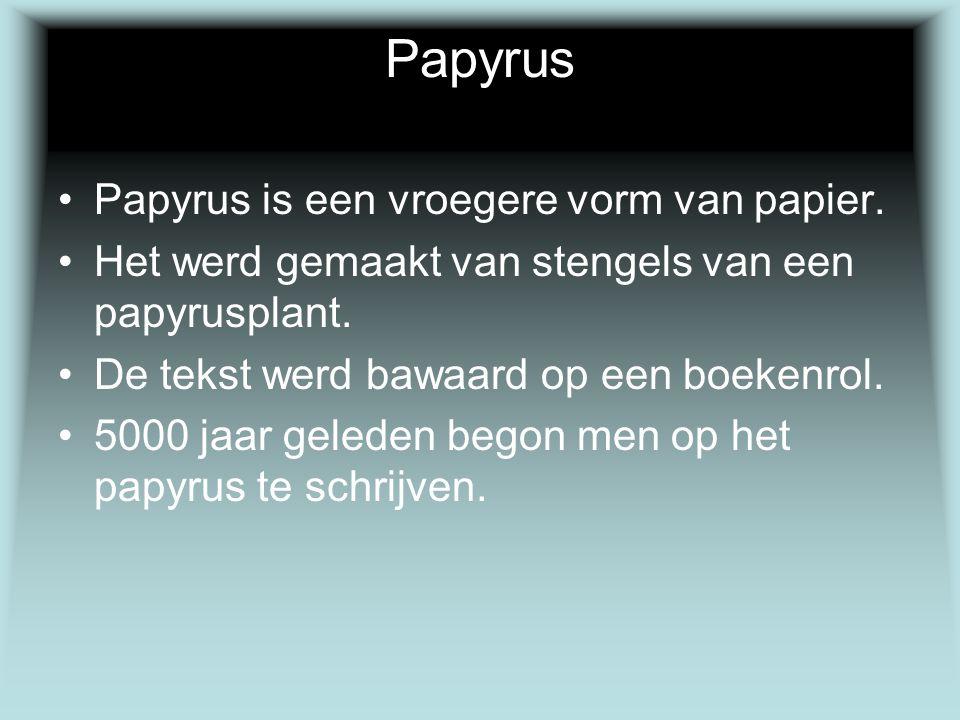 Papyrus Papyrus is een vroegere vorm van papier. Het werd gemaakt van stengels van een papyrusplant. De tekst werd bawaard op een boekenrol. 5000 jaar