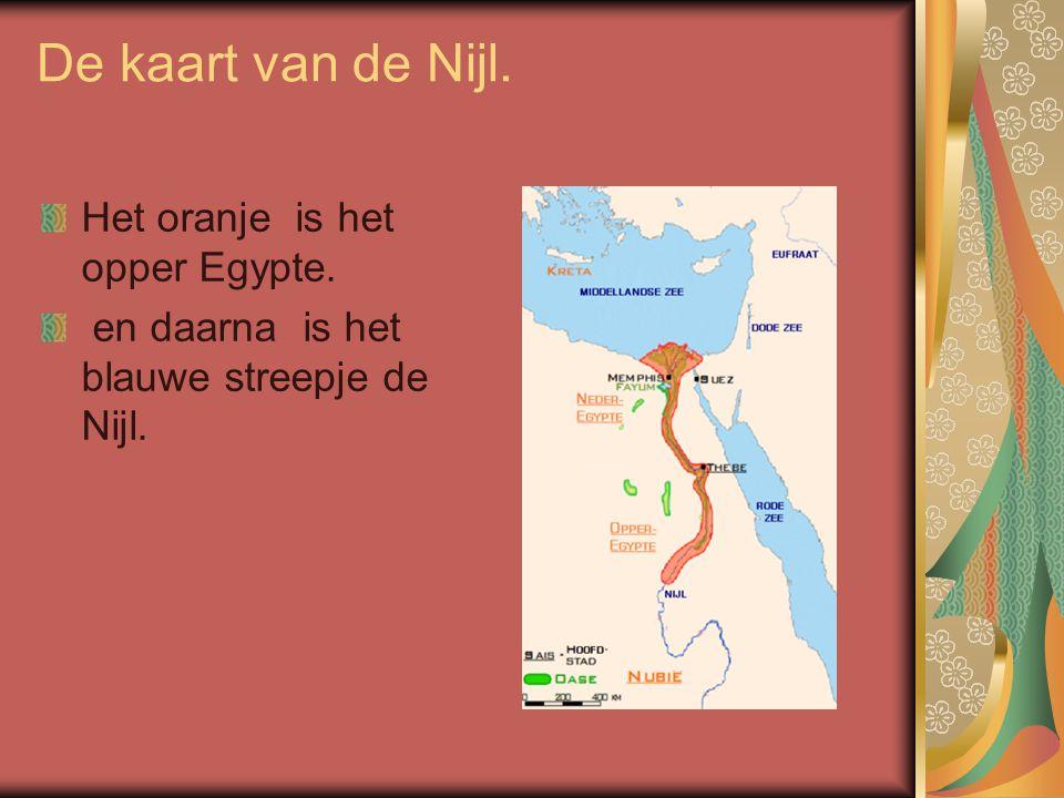 De kaart van de Nijl. Het oranje is het opper Egypte. en daarna is het blauwe streepje de Nijl.