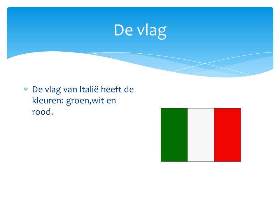 De vlag  De vlag van Italië heeft de kleuren: groen,wit en rood.