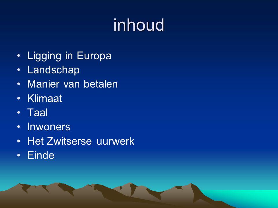 inhoud Ligging in Europa Landschap Manier van betalen Klimaat Taal Inwoners Het Zwitserse uurwerk Einde
