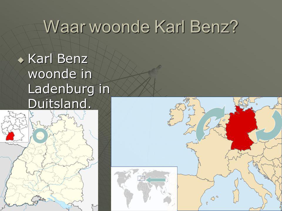 Waar woonde Karl Benz?  Karl Benz woonde in Ladenburg in Duitsland.