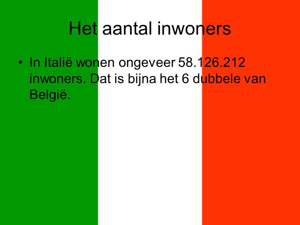 Het aantal inwoners In Italië wonen ongeveer 58.126.212 inwoners. Dat is bijna het 6 dubbele van België.