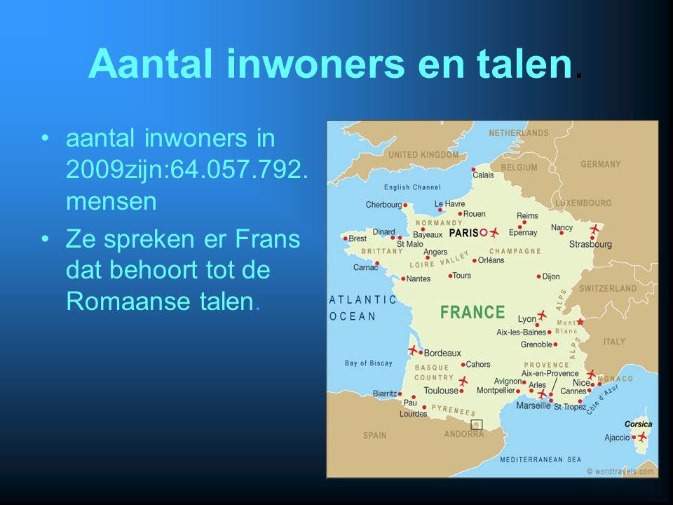 Aantal inwoners en talen. aantal inwoners in 2009zijn:64.057.792. mensen Ze spreken er Frans dat behoort tot de Romaanse talen.