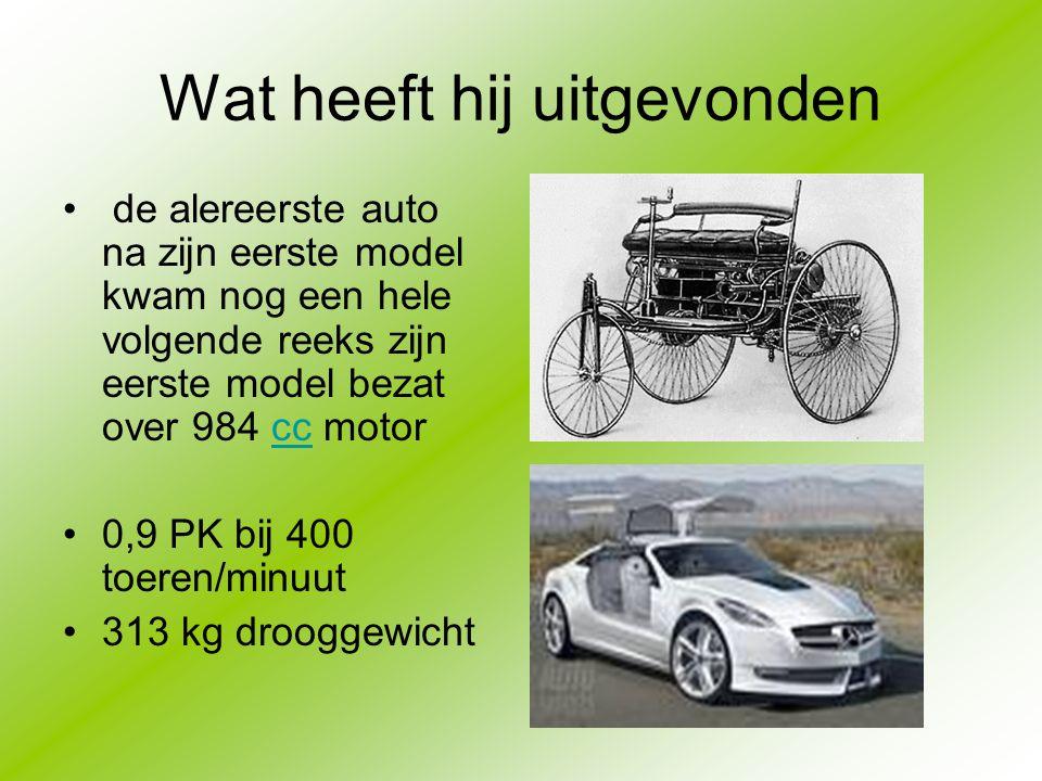 Wat heeft hij uitgevonden de alereerste auto na zijn eerste model kwam nog een hele volgende reeks zijn eerste model bezat over 984 cc motorcc 0,9 PK