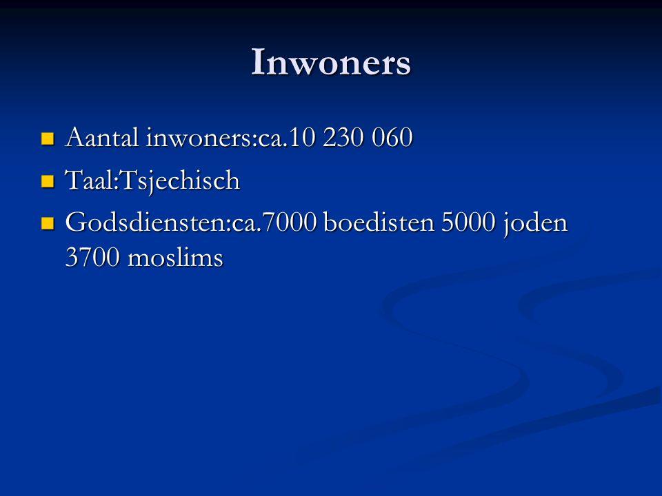 Inwoners Aantal inwoners:ca.10 230 060 Aantal inwoners:ca.10 230 060 Taal:Tsjechisch Taal:Tsjechisch Godsdiensten:ca.7000 boedisten 5000 joden 3700 mo