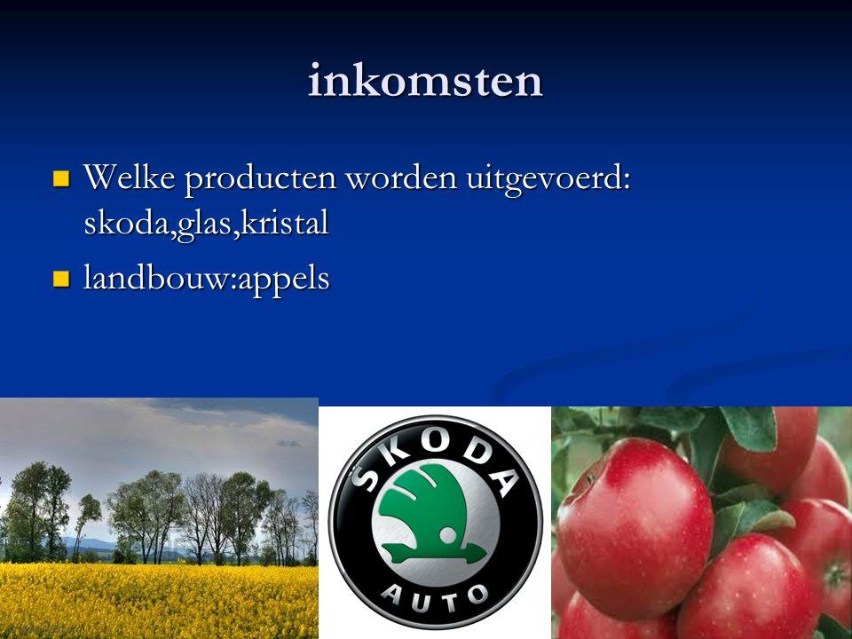 inkomsten Welke producten worden uitgevoerd: skoda,glas,kristal Welke producten worden uitgevoerd: skoda,glas,kristal landbouw:appels landbouw:appels
