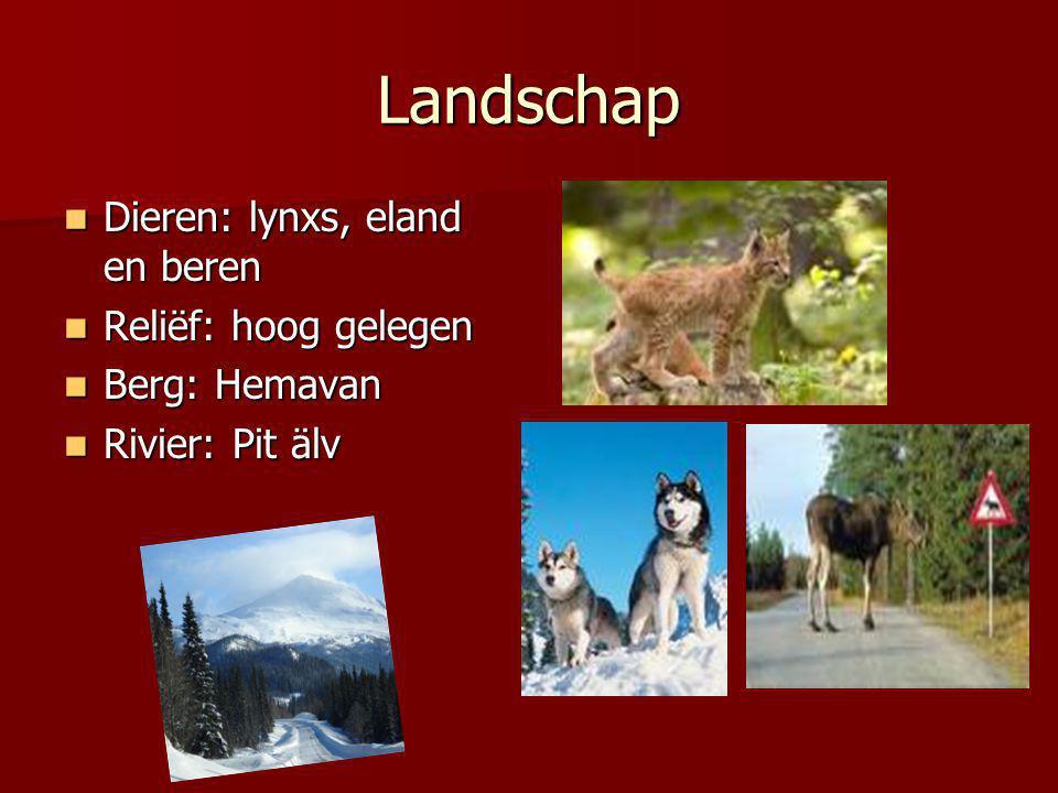 Landschap Dieren: lynxs, eland en beren Dieren: lynxs, eland en beren Reliëf: hoog gelegen Reliëf: hoog gelegen Berg: Hemavan Berg: Hemavan Rivier: Pi