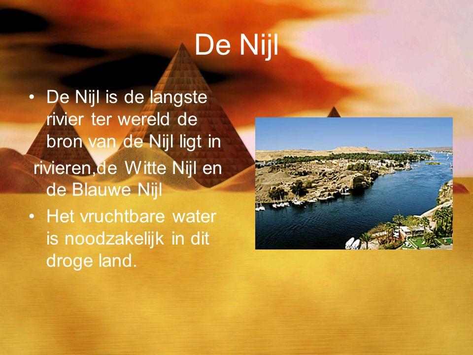 De Nijl De Nijl is de langste rivier ter wereld de bron van de Nijl ligt in rivieren,de Witte Nijl en de Blauwe Nijl Het vruchtbare water is noodzakel