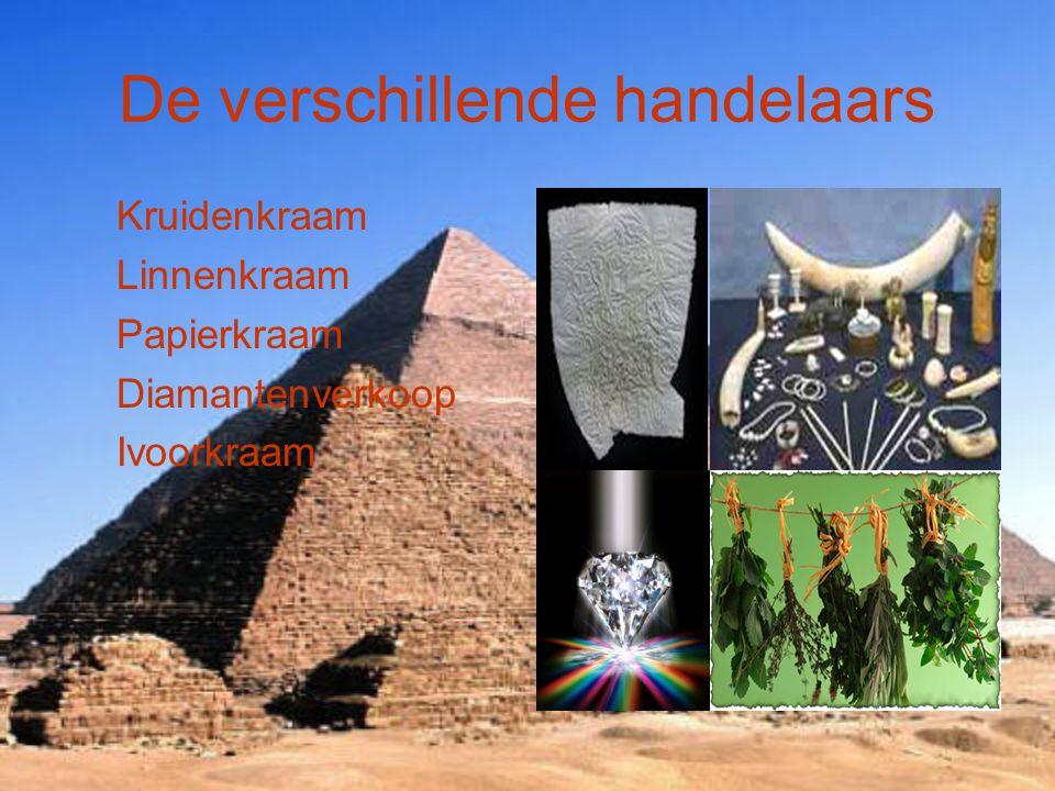 De verschillende handelaars Kruidenkraam Linnenkraam Papierkraam Diamantenverkoop Ivoorkraam