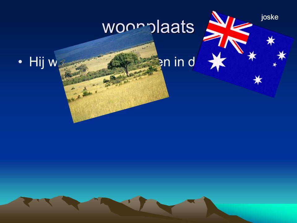 woonplaats Hij woont in Australië en in de savannen joske