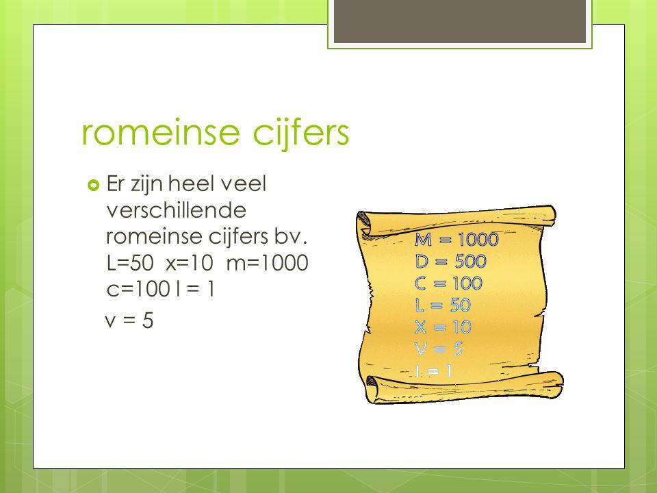romeinse cijfers  Er zijn heel veel verschillende romeinse cijfers bv.