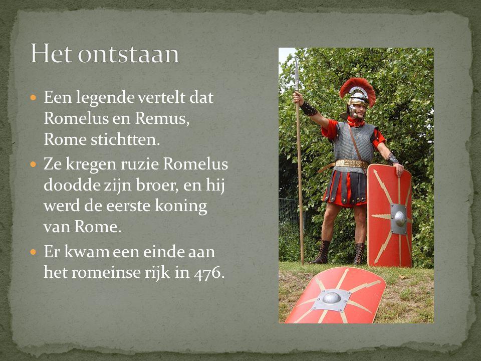 Een legende vertelt dat Romelus en Remus, Rome stichtten.