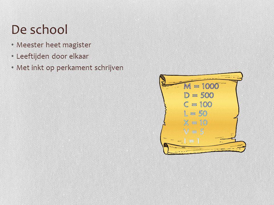 De school Meester heet magister Leeftijden door elkaar Met inkt op perkament schrijven
