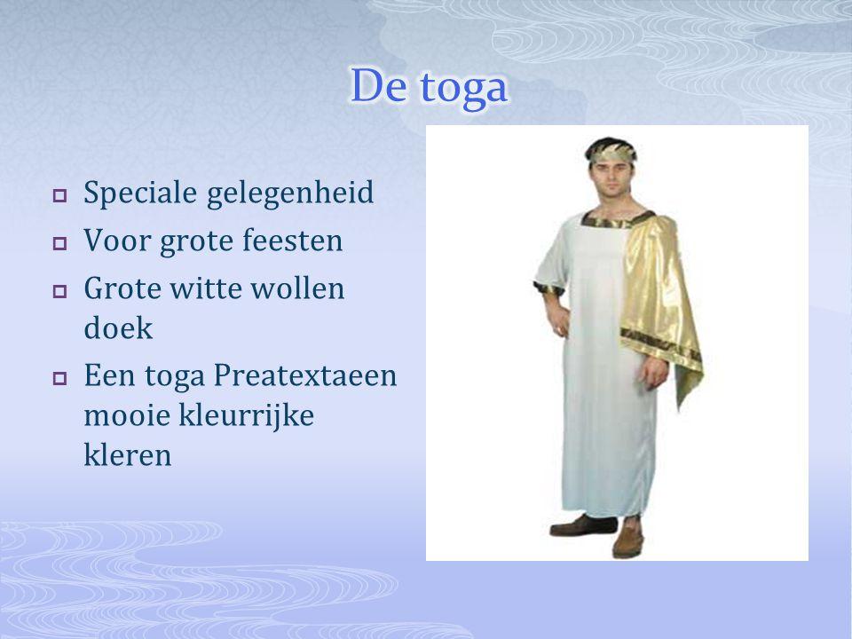  Speciale gelegenheid  Voor grote feesten  Grote witte wollen doek  Een toga Preatextaeen mooie kleurrijke kleren