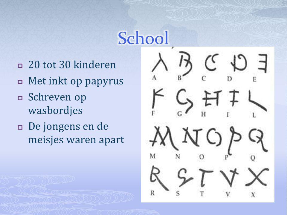  20 tot 30 kinderen  Met inkt op papyrus  Schreven op wasbordjes  De jongens en de meisjes waren apart