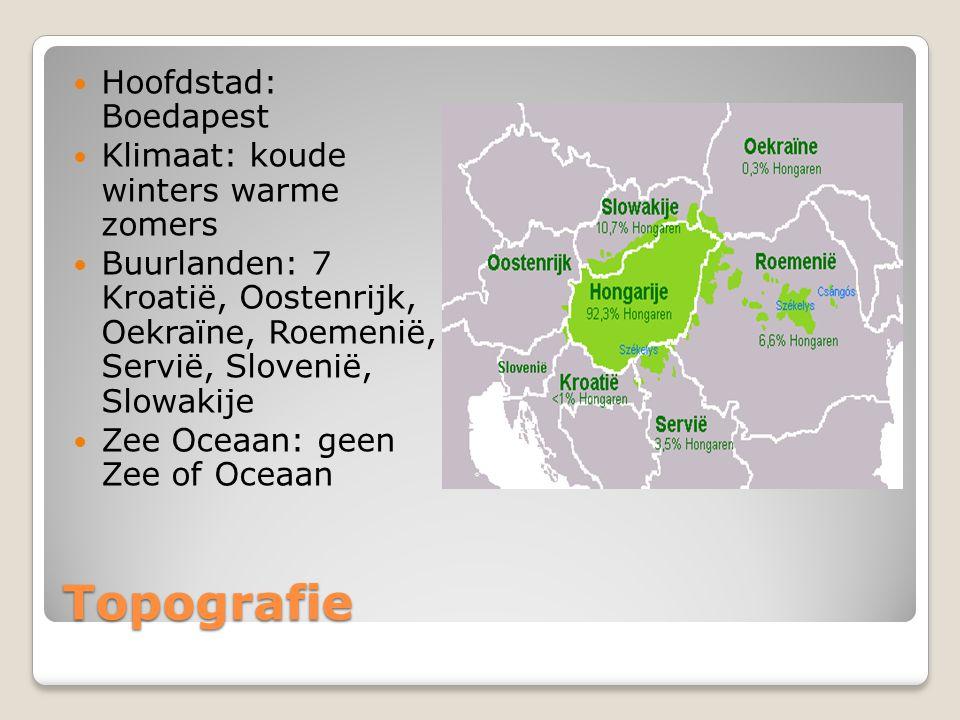 Topografie Hoofdstad: Boedapest Klimaat: koude winters warme zomers Buurlanden: 7 Kroatië, Oostenrijk, Oekraïne, Roemenië, Servië, Slovenië, Slowakije Zee Oceaan: geen Zee of Oceaan