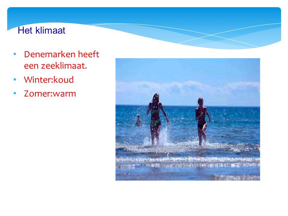 Denemarken heeft een zeeklimaat. Winter:koud Zomer:warm Het klimaat