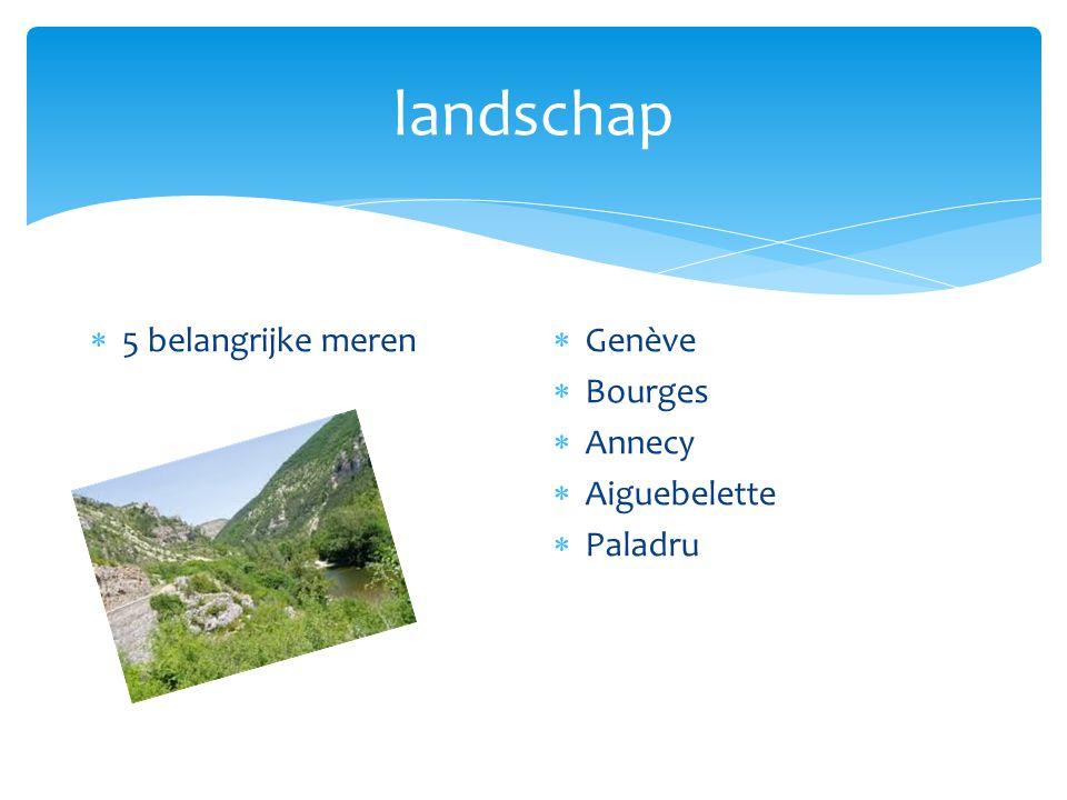 landschap  5 belangrijke meren  Genève  Bourges  Annecy  Aiguebelette  Paladru