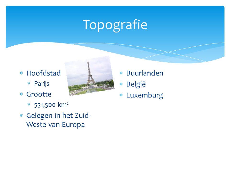 Topografie  Hoofdstad  Parijs  Grootte  551,500 km²  Gelegen in het Zuid- Weste van Europa  Buurlanden  België  Luxemburg