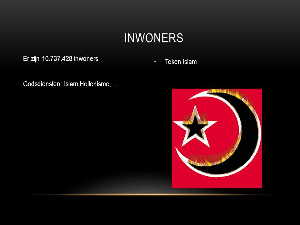 Er zijn 10.737.428 inwoners Godsdiensten: Islam,Hellenisme,… Teken Islam INWONERS