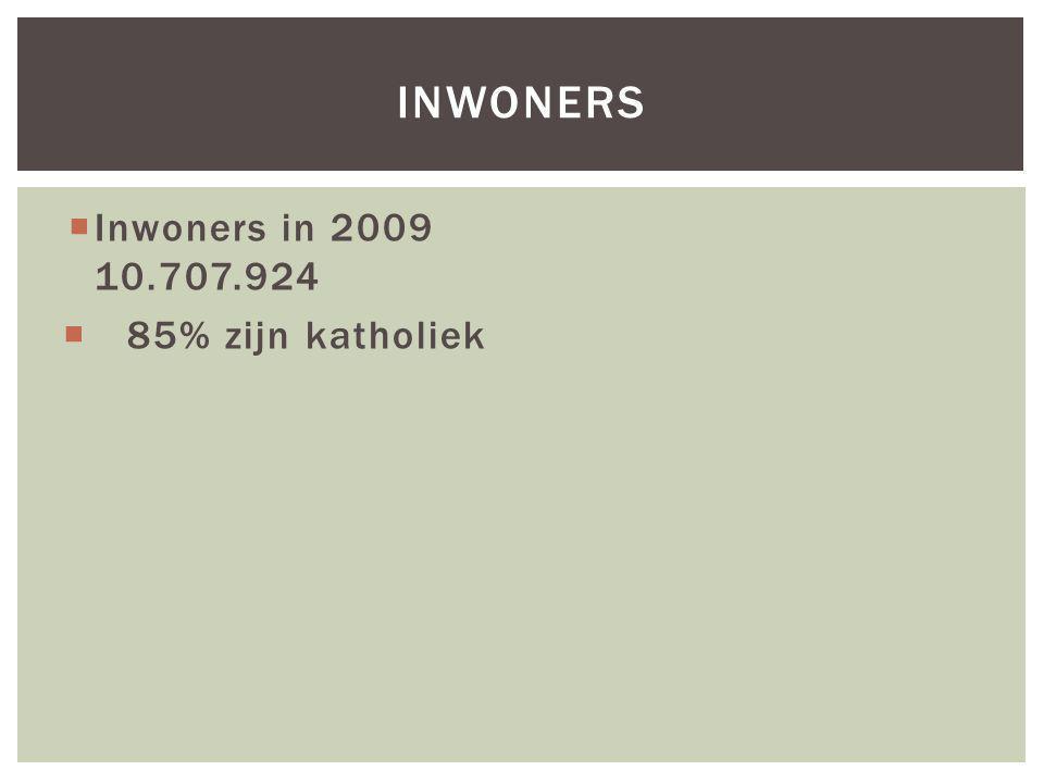  Inwoners in 2009 10.707.924  85% zijn katholiek INWONERS