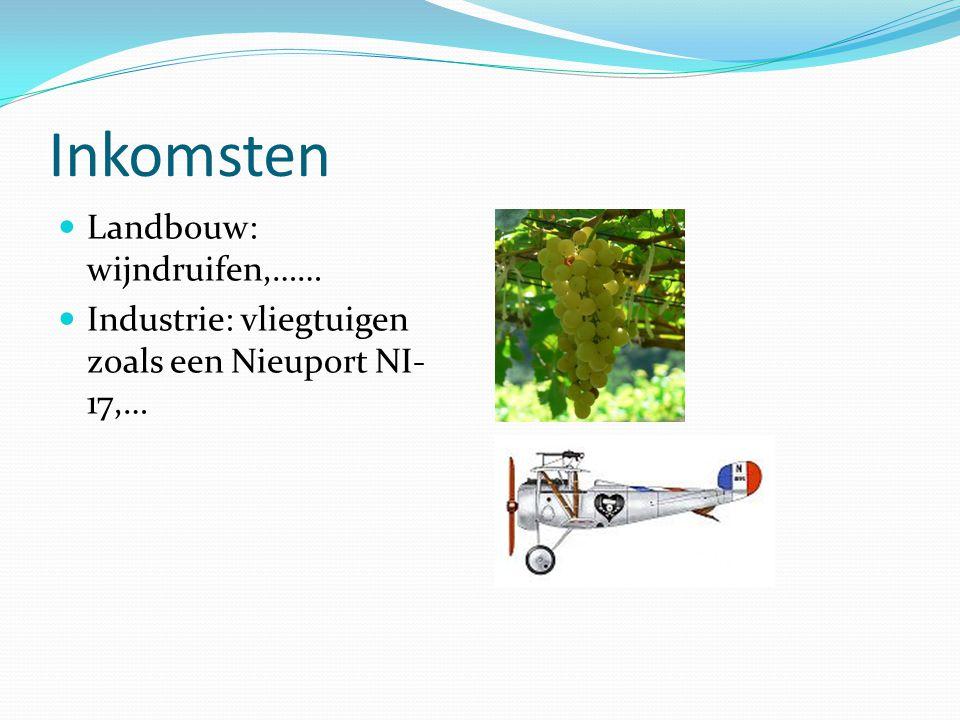 Inkomsten Landbouw: wijndruifen,…… Industrie: vliegtuigen zoals een Nieuport NI- 17,…