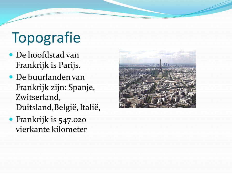 Topografie De hoofdstad van Frankrijk is Parijs. De buurlanden van Frankrijk zijn: Spanje, Zwitserland, Duitsland,België, Italië, Frankrijk is 547.020
