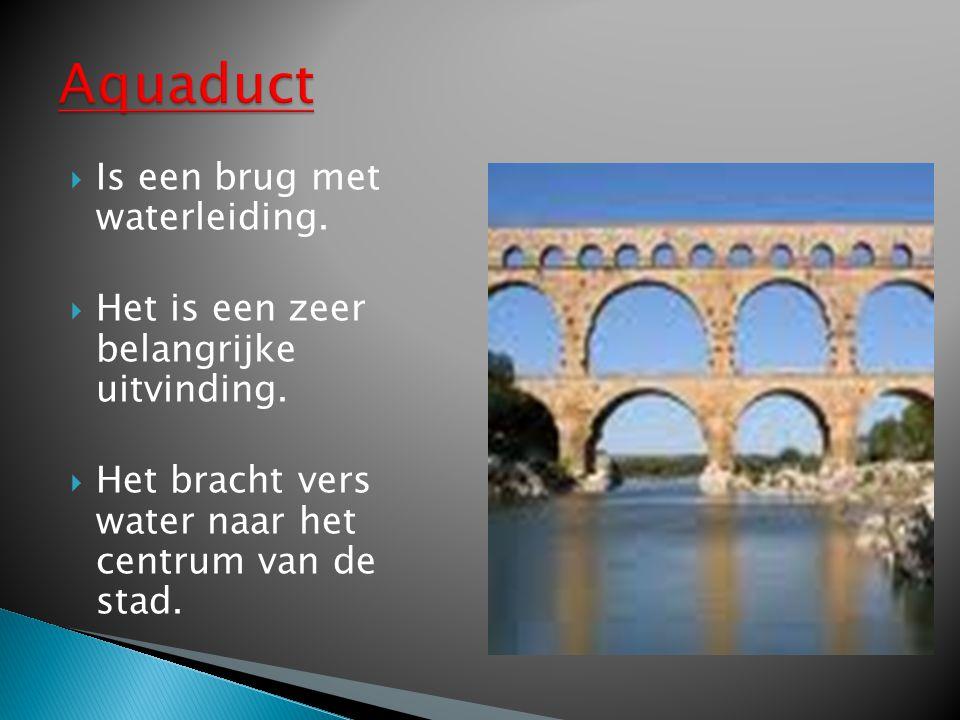  Is een brug met waterleiding. Het is een zeer belangrijke uitvinding.