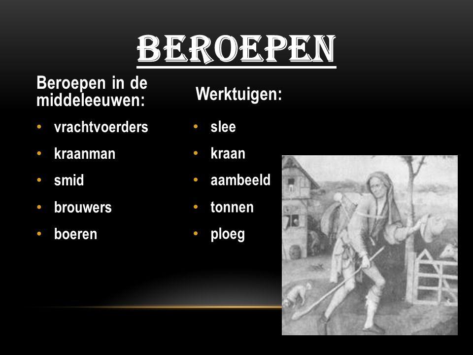 slee kraan aambeeld tonnen ploeg vrachtvoerders kraanman smid brouwers boeren BEROEPEN Beroepen in de middeleeuwen: Werktuigen:
