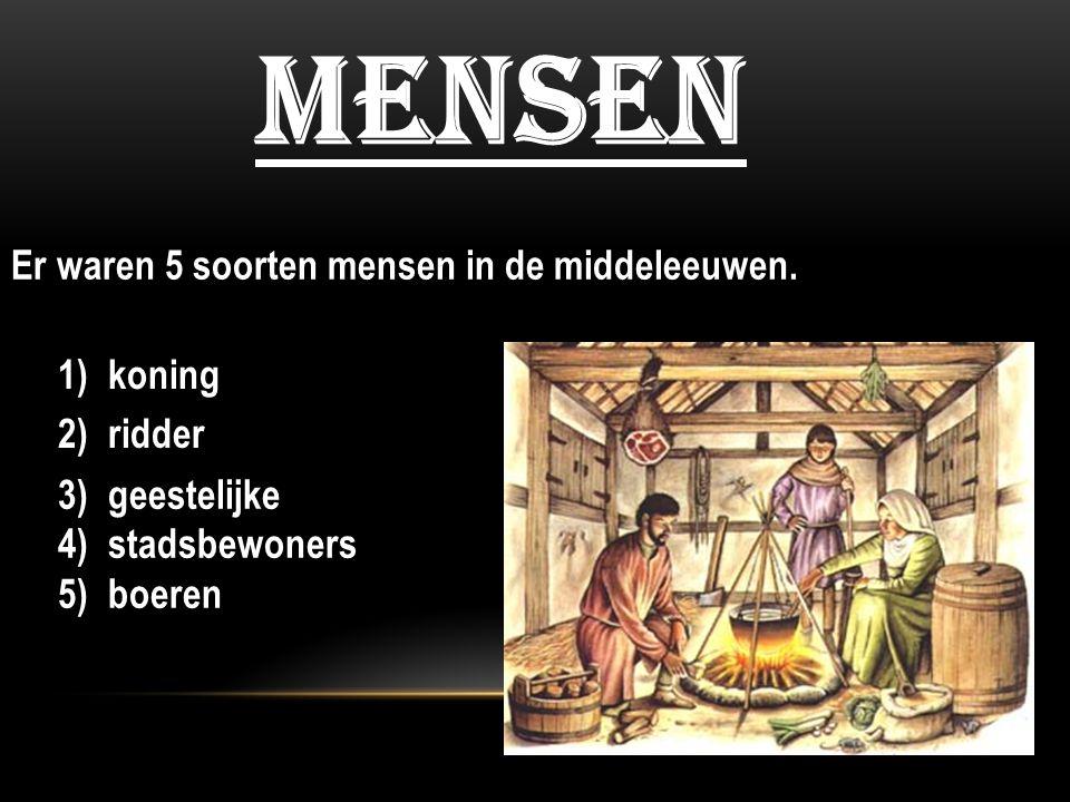 mensen Er waren 5 soorten mensen in de middeleeuwen. 1) koning 3) geestelijke 4) stadsbewoners 5) boeren 2) ridder