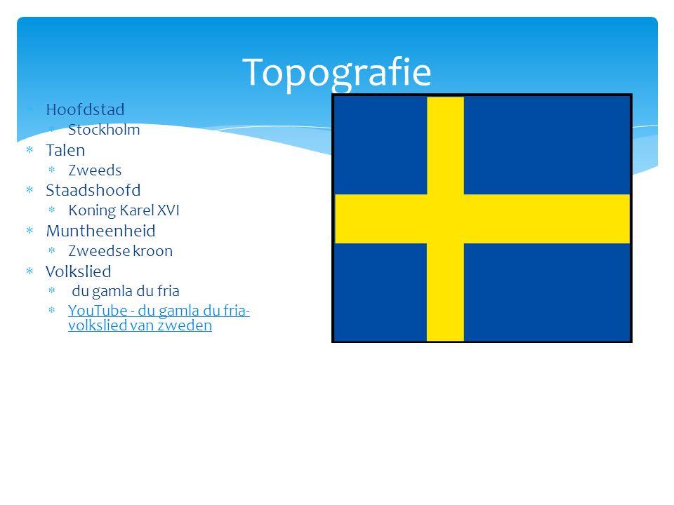 Topografie  Hoofdstad  Stockholm  Talen  Zweeds  Staadshoofd  Koning Karel XVI  Muntheenheid  Zweedse kroon  Volkslied  du gamla du fria  Y