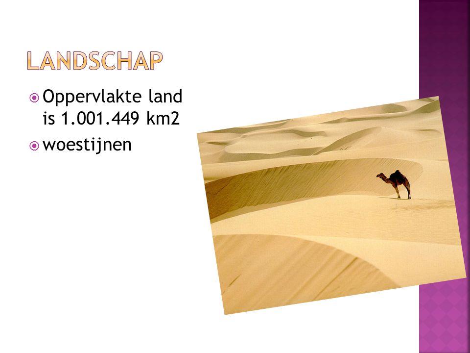  Oppervlakte land is 1.001.449 km2  woestijnen