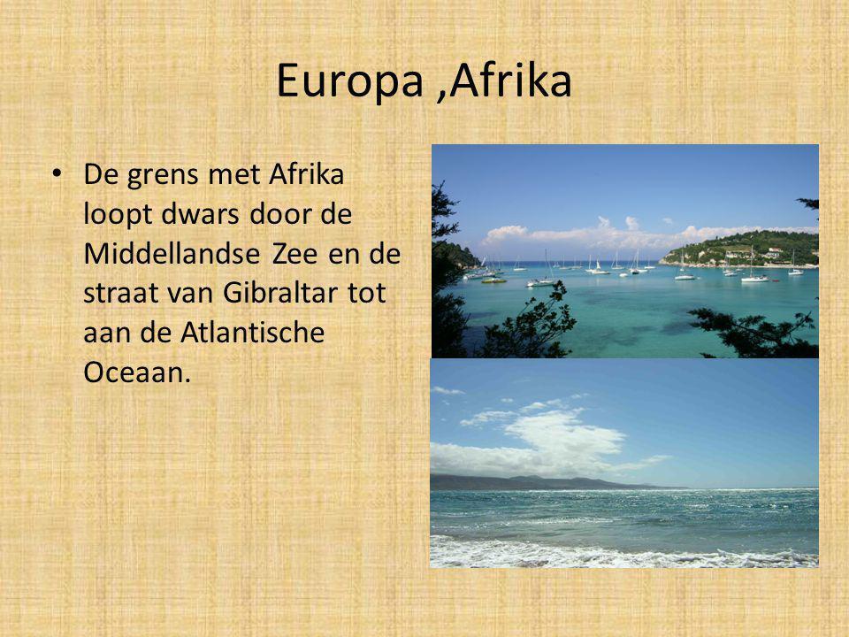 Europa,Azië. – De grens met Azië in het oosten volgt het Oeral gebergte en de Oeral rivier.