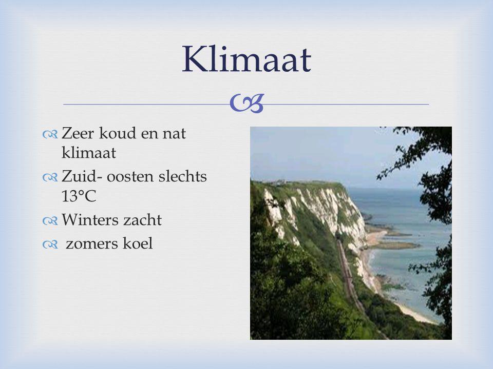  Klimaat  Zeer koud en nat klimaat  Zuid- oosten slechts 13°C  Winters zacht  zomers koel