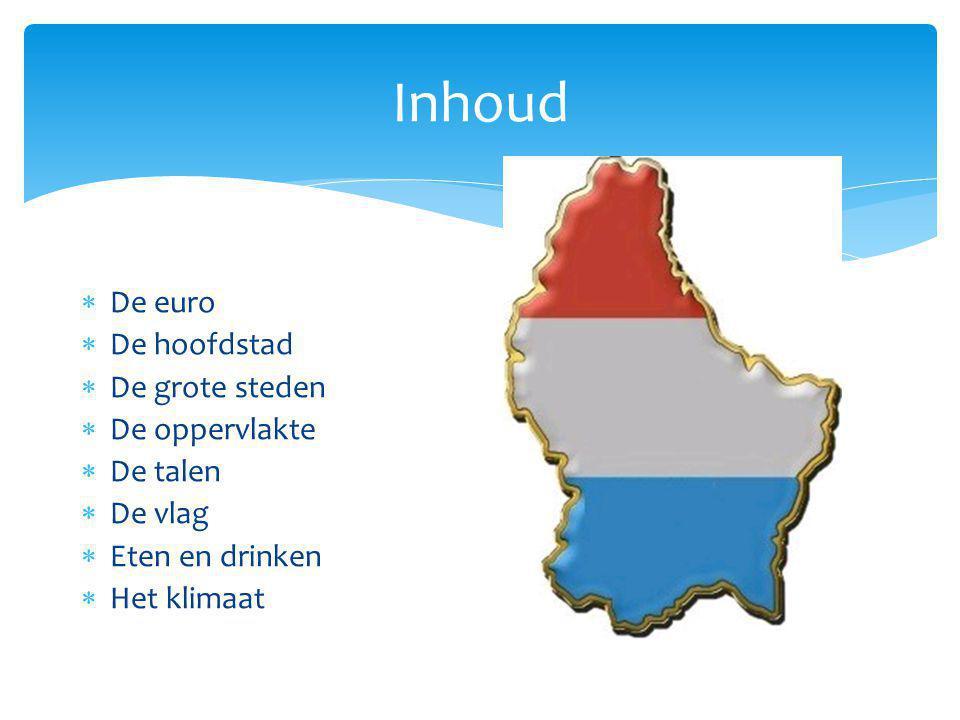Inhoud  De euro  De hoofdstad  De grote steden  De oppervlakte  De talen  De vlag  Eten en drinken  Het klimaat