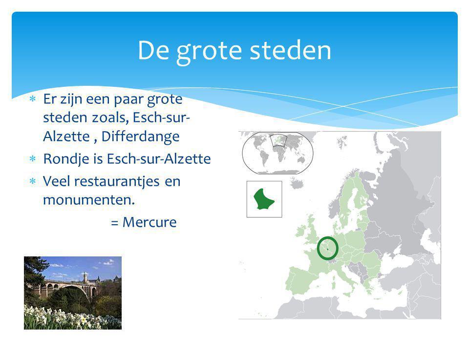 De grote steden  Er zijn een paar grote steden zoals, Esch-sur- Alzette, Differdange  Rondje is Esch-sur-Alzette  Veel restaurantjes en monumenten.