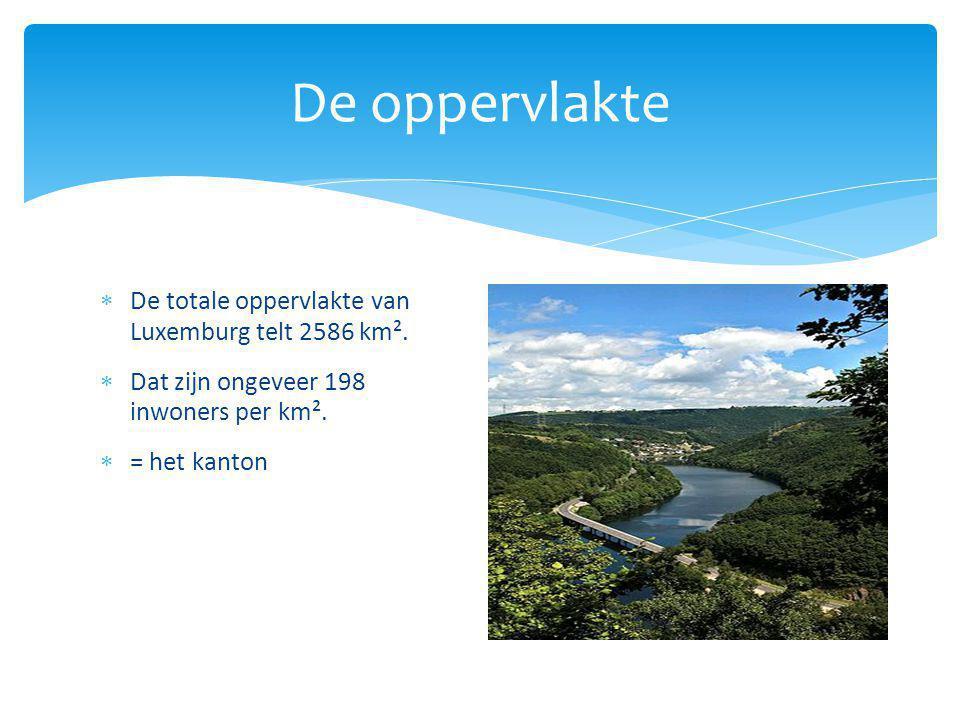 De oppervlakte  De totale oppervlakte van Luxemburg telt 2586 km².  Dat zijn ongeveer 198 inwoners per km².  = het kanton