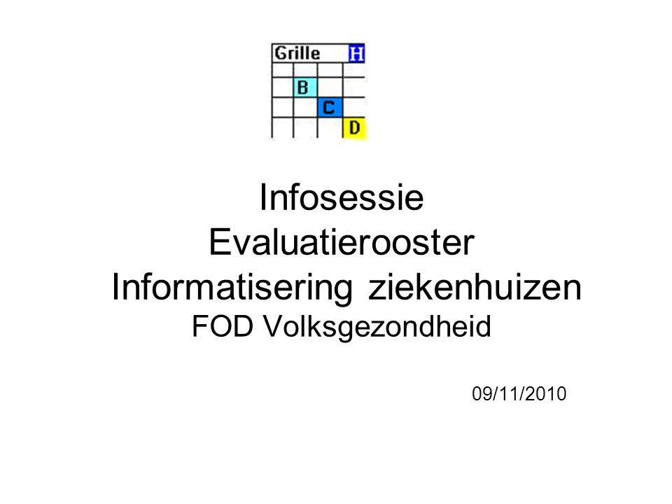Infosessie Evaluatierooster Informatisering ziekenhuizen FOD Volksgezondheid 09/11/2010