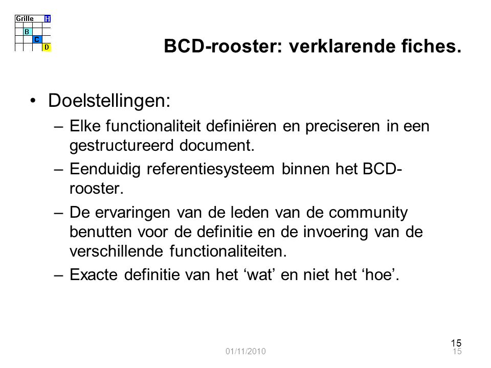 15 BCD-rooster: verklarende fiches. Doelstellingen: –Elke functionaliteit definiëren en preciseren in een gestructureerd document. –Eenduidig referent