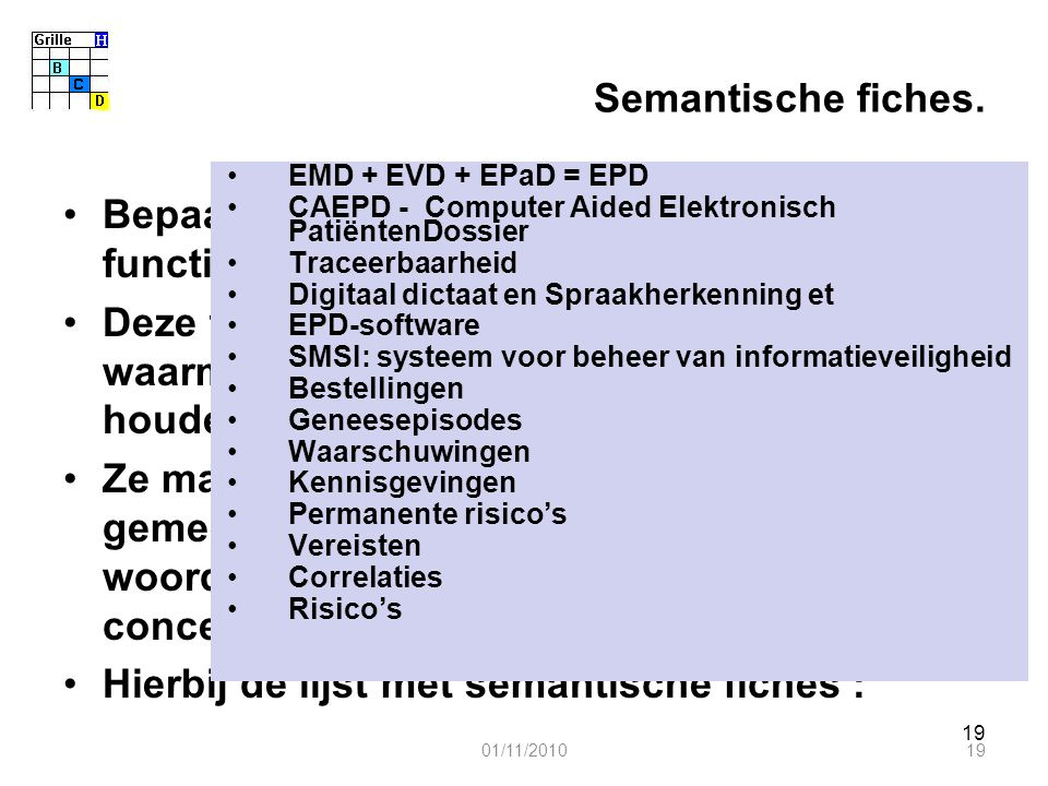 19 Semantische fiches. Bepaalde algemene concepten buiten de functionaliteiten verklaren en vastleggen. Deze fiches vormen een referentiekader waarmee