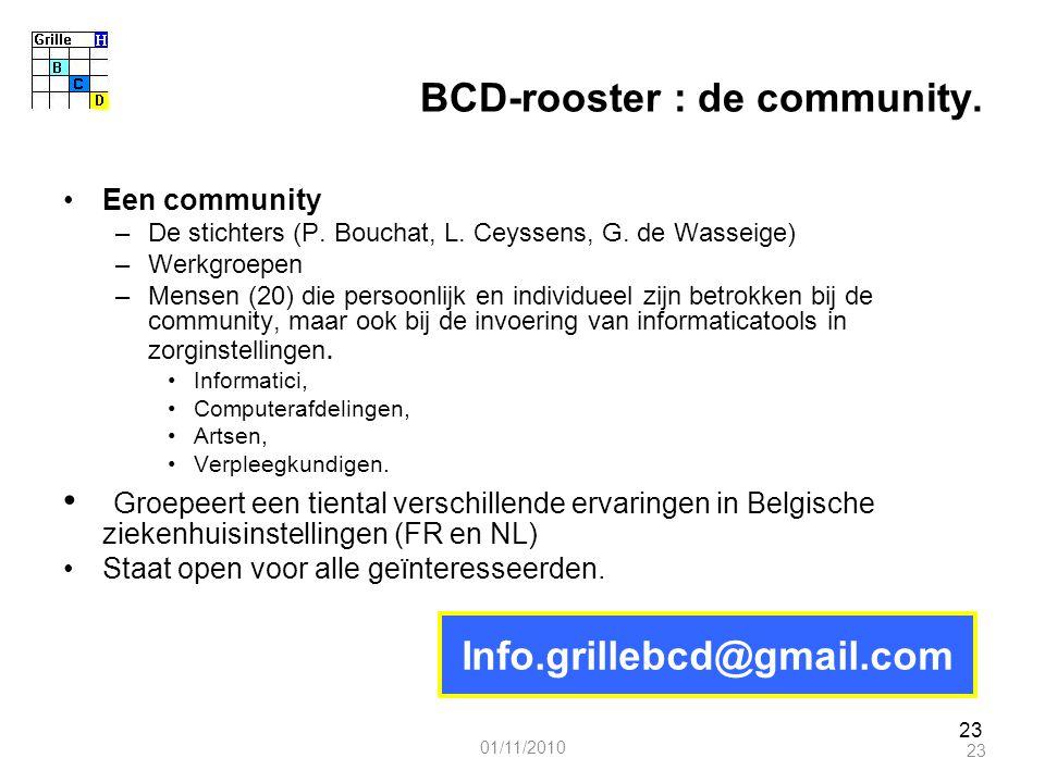 23 BCD-rooster : de community. Een community –De stichters (P. Bouchat, L. Ceyssens, G. de Wasseige) –Werkgroepen –Mensen (20) die persoonlijk en indi