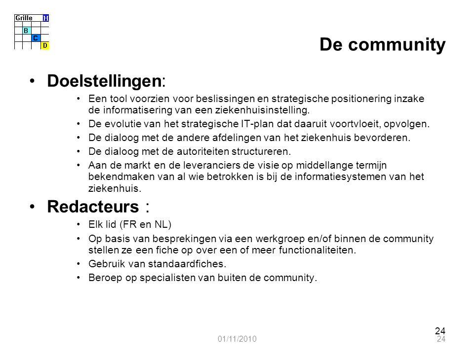 24 De community Doelstellingen: Een tool voorzien voor beslissingen en strategische positionering inzake de informatisering van een ziekenhuisinstelling.