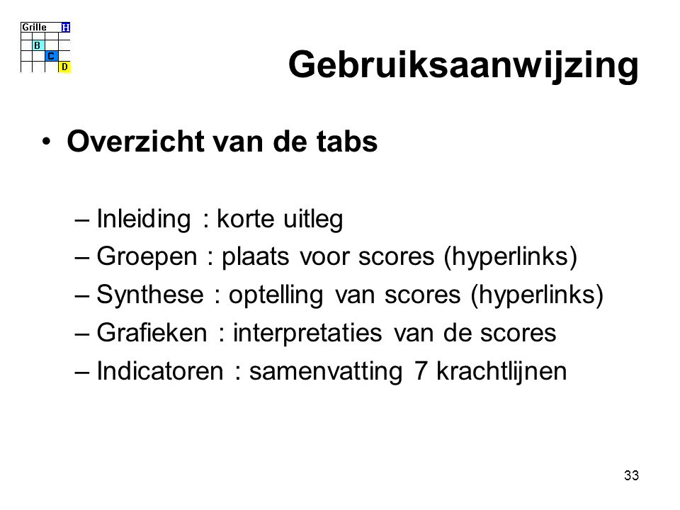 33 Gebruiksaanwijzing Overzicht van de tabs –Inleiding : korte uitleg –Groepen : plaats voor scores (hyperlinks) –Synthese : optelling van scores (hyperlinks) –Grafieken : interpretaties van de scores –Indicatoren : samenvatting 7 krachtlijnen