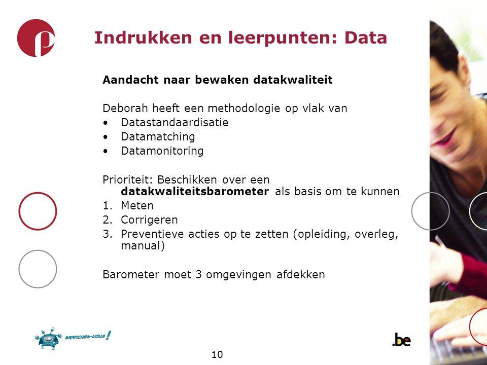10 Indrukken en leerpunten: Data Aandacht naar bewaken datakwaliteit Deborah heeft een methodologie op vlak van Datastandaardisatie Datamatching Datam