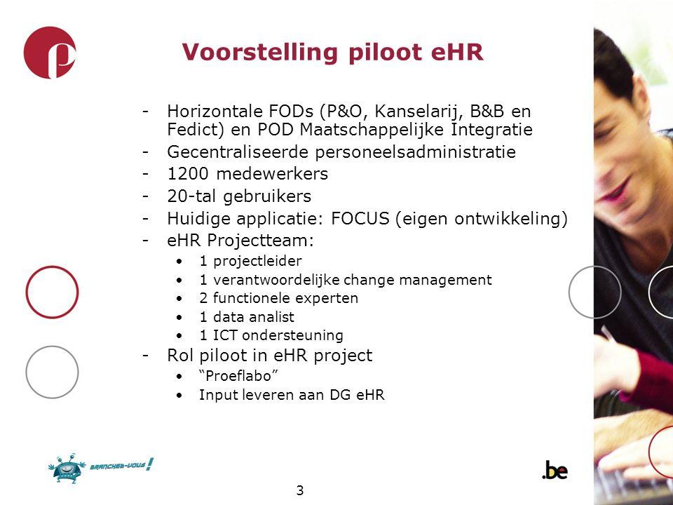 3 Voorstelling piloot eHR -Horizontale FODs (P&O, Kanselarij, B&B en Fedict) en POD Maatschappelijke Integratie -Gecentraliseerde personeelsadministra
