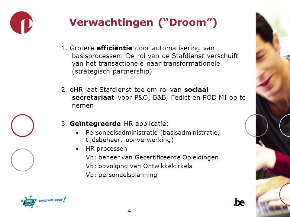 """4 Verwachtingen (""""Droom"""") 1. Grotere efficiëntie door automatisering van basisprocessen: De rol van de Stafdienst verschuift van het transactionele na"""
