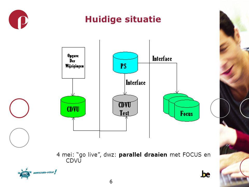 """6 Huidige situatie 4 mei: """"go live"""", dwz: parallel draaien met FOCUS en CDVU"""